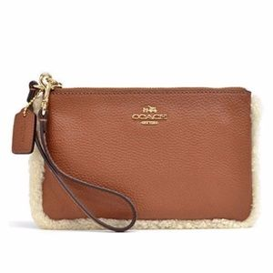 Coach Shearling Lined Saddle Tan Leather Wristlet